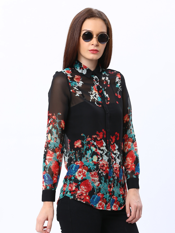 Myntra Only Women Black Floral Print Shirt 388561 Buy