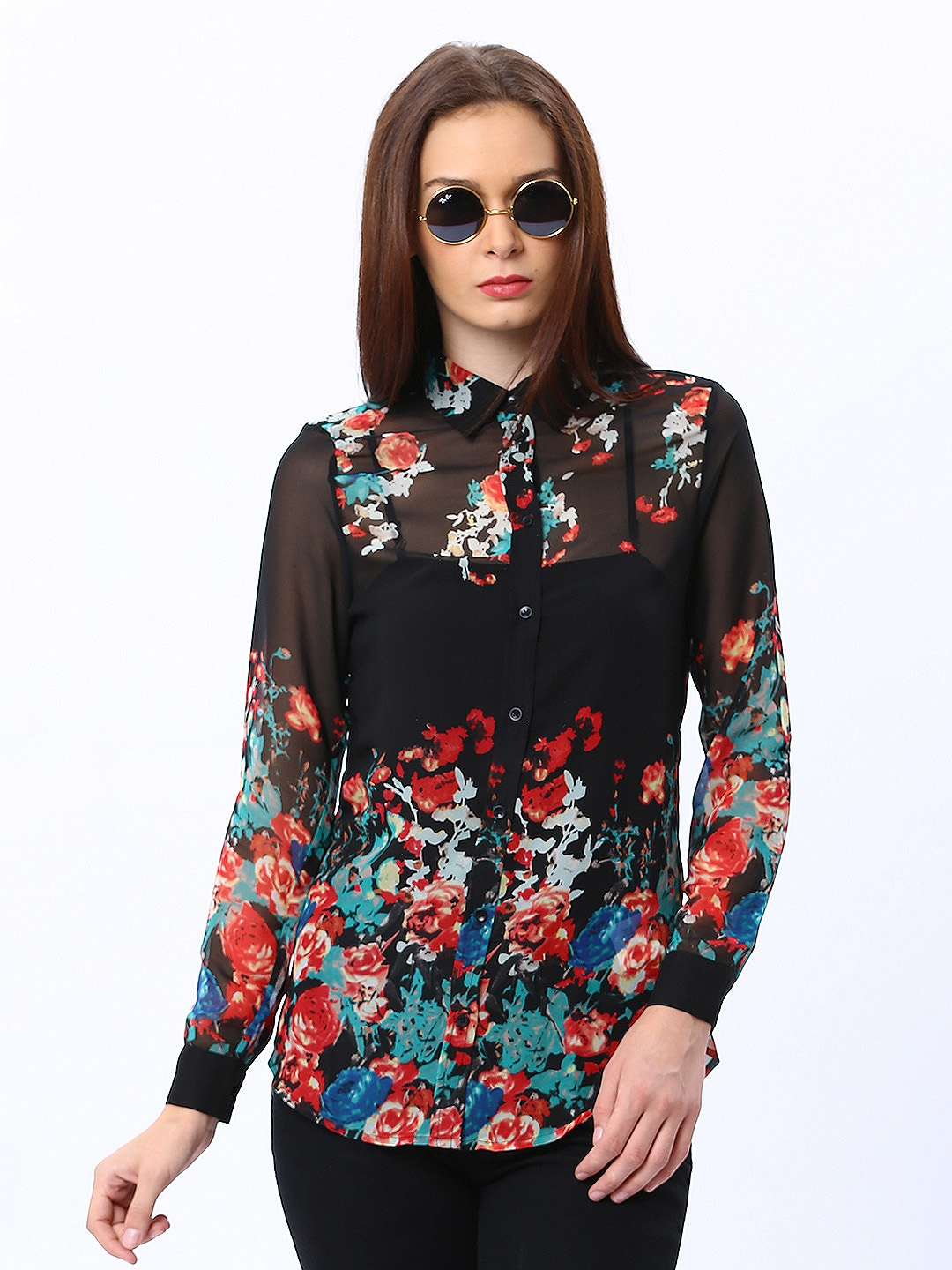 Myntra only women black floral print shirt 388561 buy for Black floral print shirt