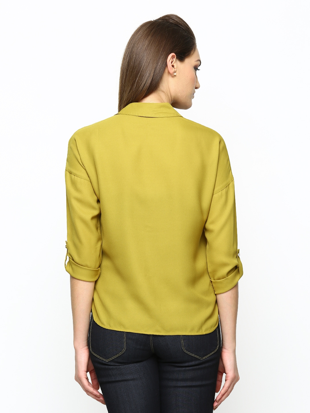 Myntra only women mustard yellow casual shirt 529828 buy for Shirts online shopping lowest price