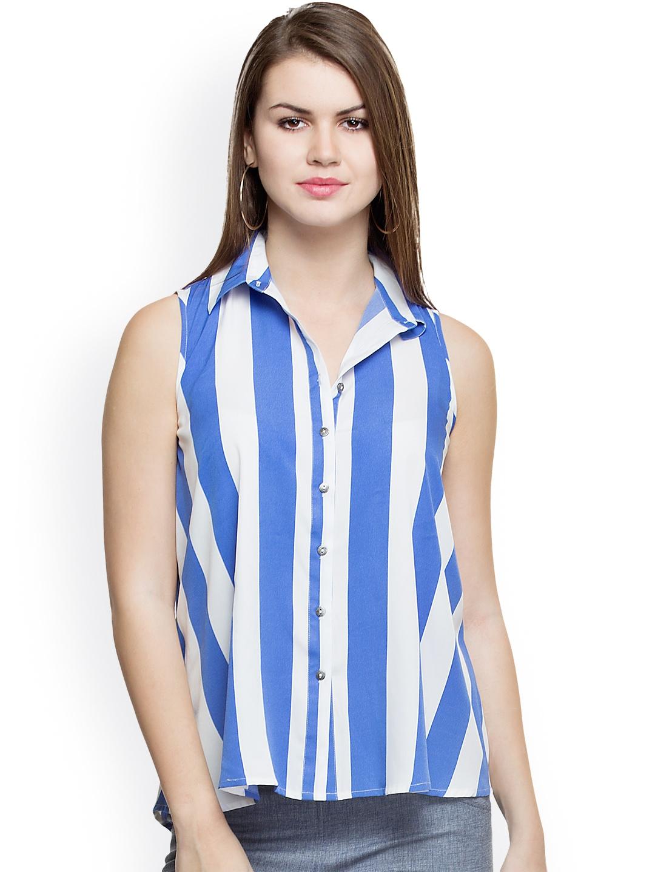 Myntra Oxolloxo Women Blue White Striped Shirt 752628