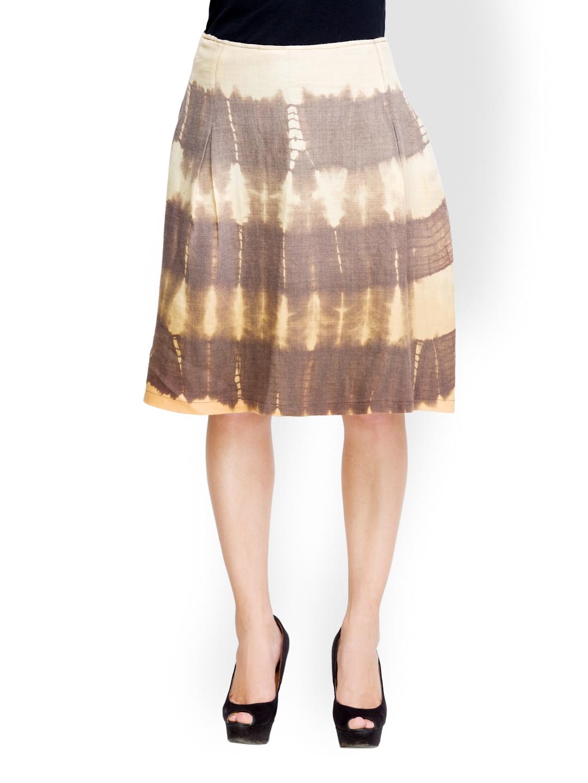 Brown Embellished Suede Skirt - Women