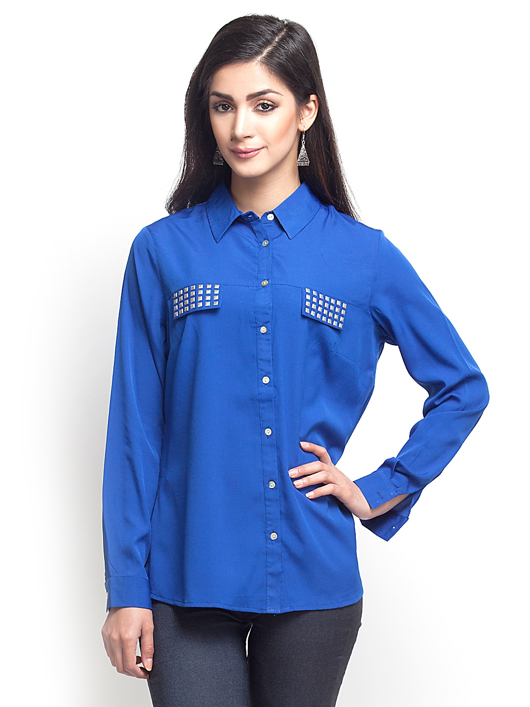Myntra oxolloxo women blue shirt 339032 buy myntra for Shirts online shopping lowest price