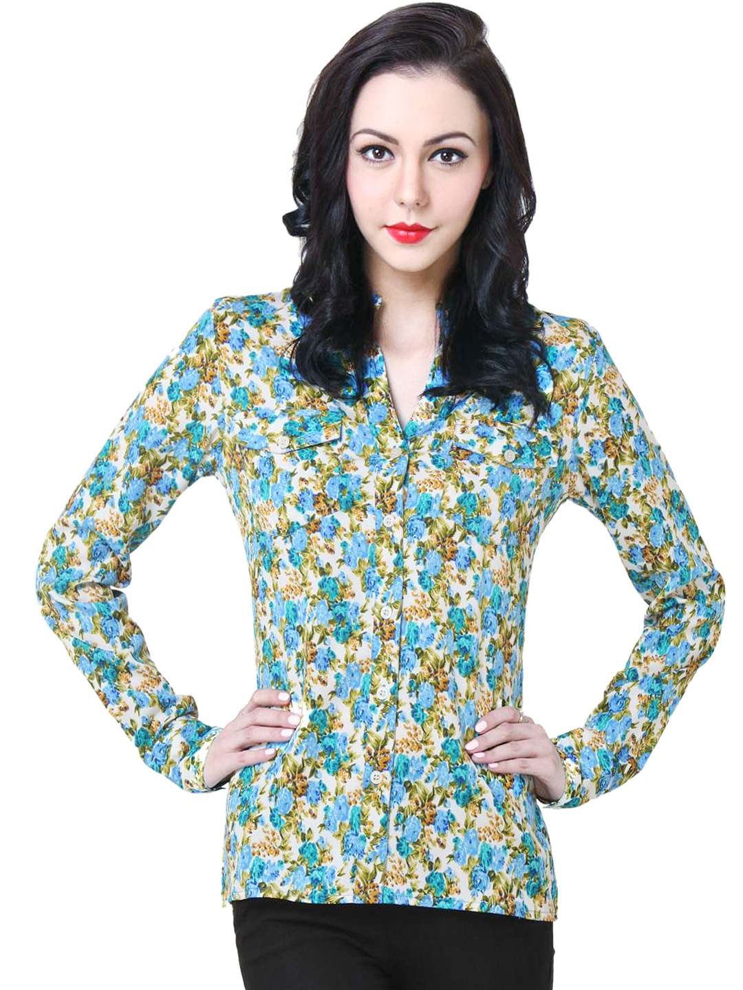Myntra purys women white floral printed shirt 579322 buy for Shirts online shopping lowest price