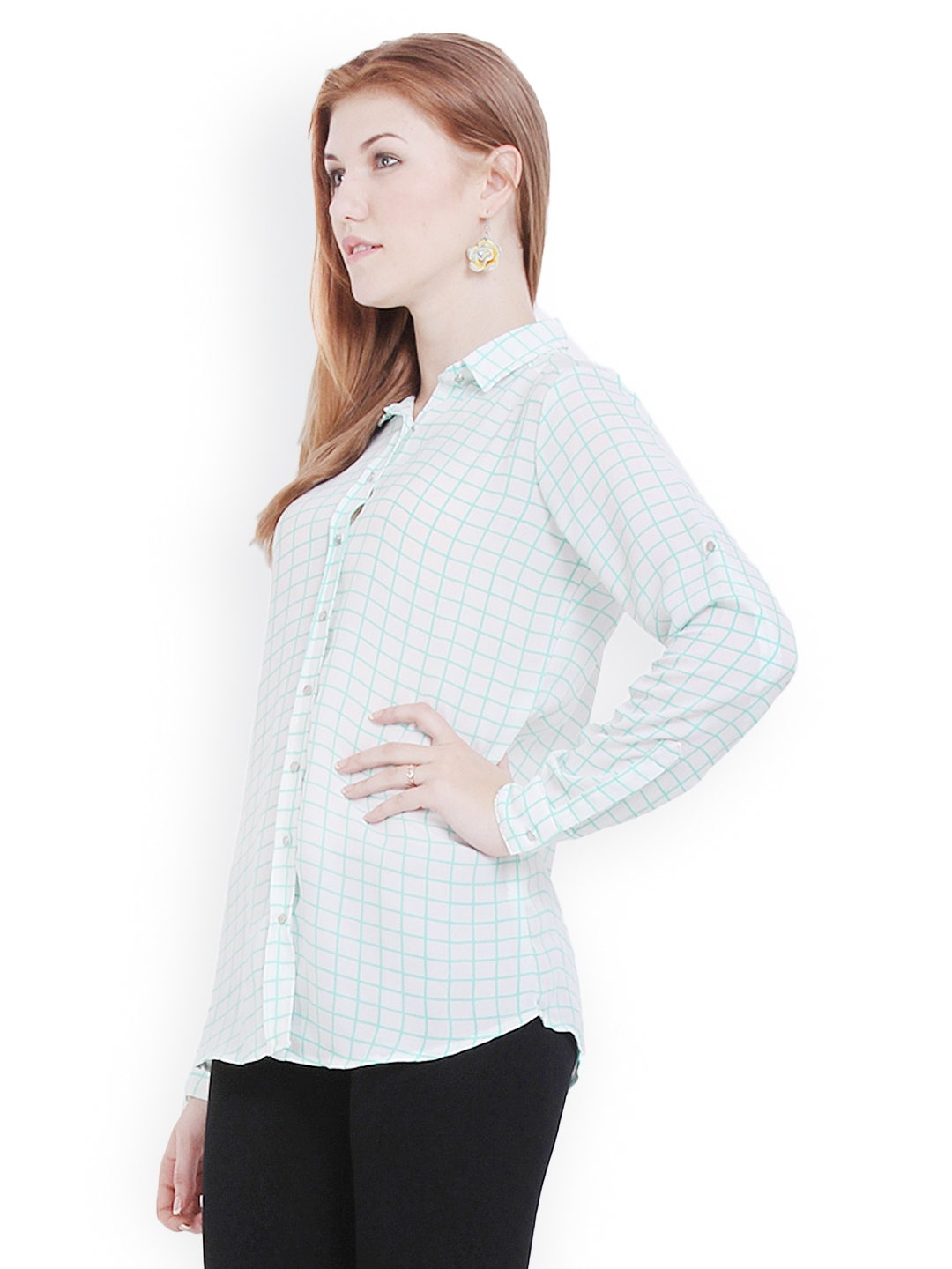 Myntra paprika women white green checked shirt 546104 for Womens green checked shirt