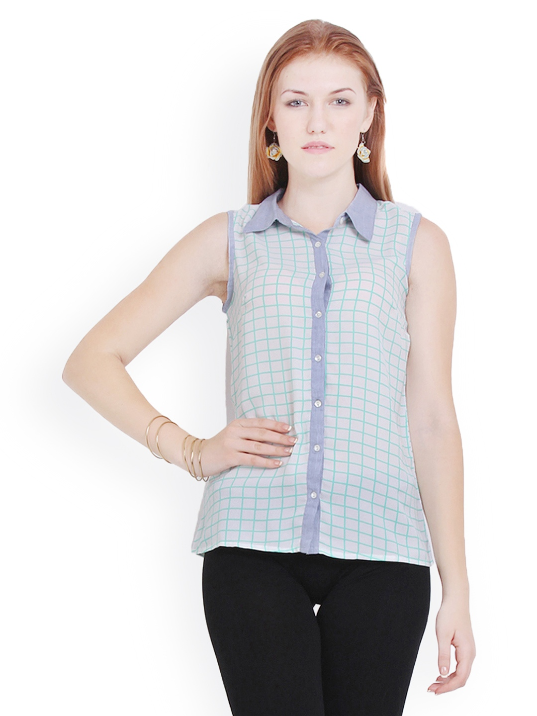 Myntra paprika pink white checked shirt 862833 buy for Womens green checked shirt