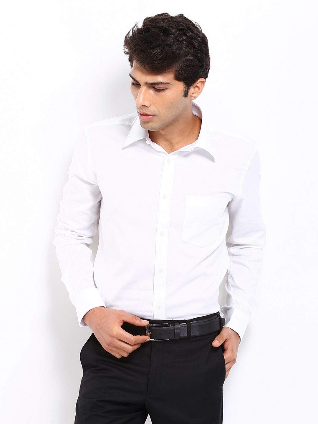 Myntra park avenue men white slim fit formal shirt 301837 for Boys white formal shirt