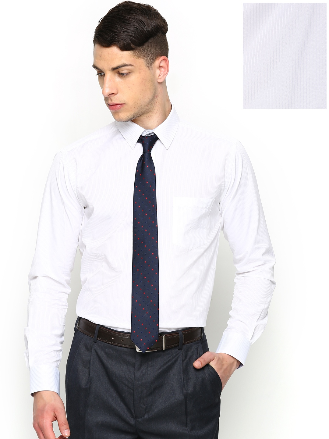 Myntra park avenue men white striped slim fit formal shirt for Boys white formal shirt