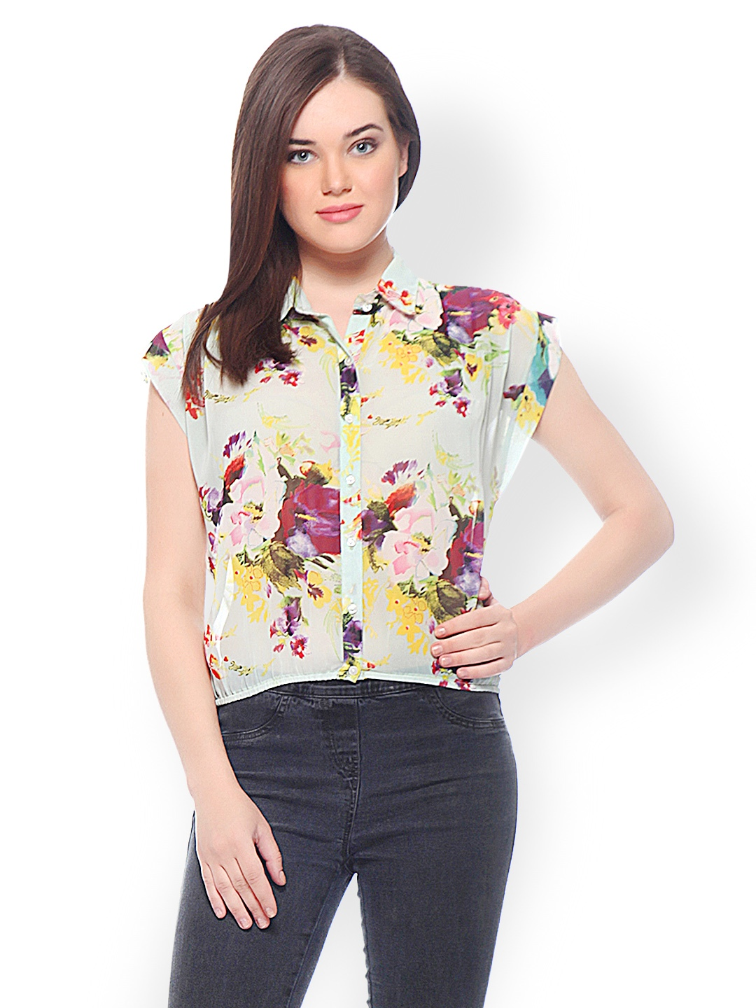 Myntra peacot women off white floral print shirt 489235 for White floral shirt womens
