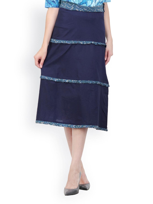 myntra pehraan blue tiered skirt 432575 buy myntra