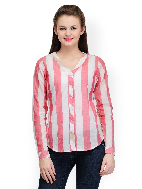 Myntra pique republic women white pink striped shirt for Pink white striped shirt