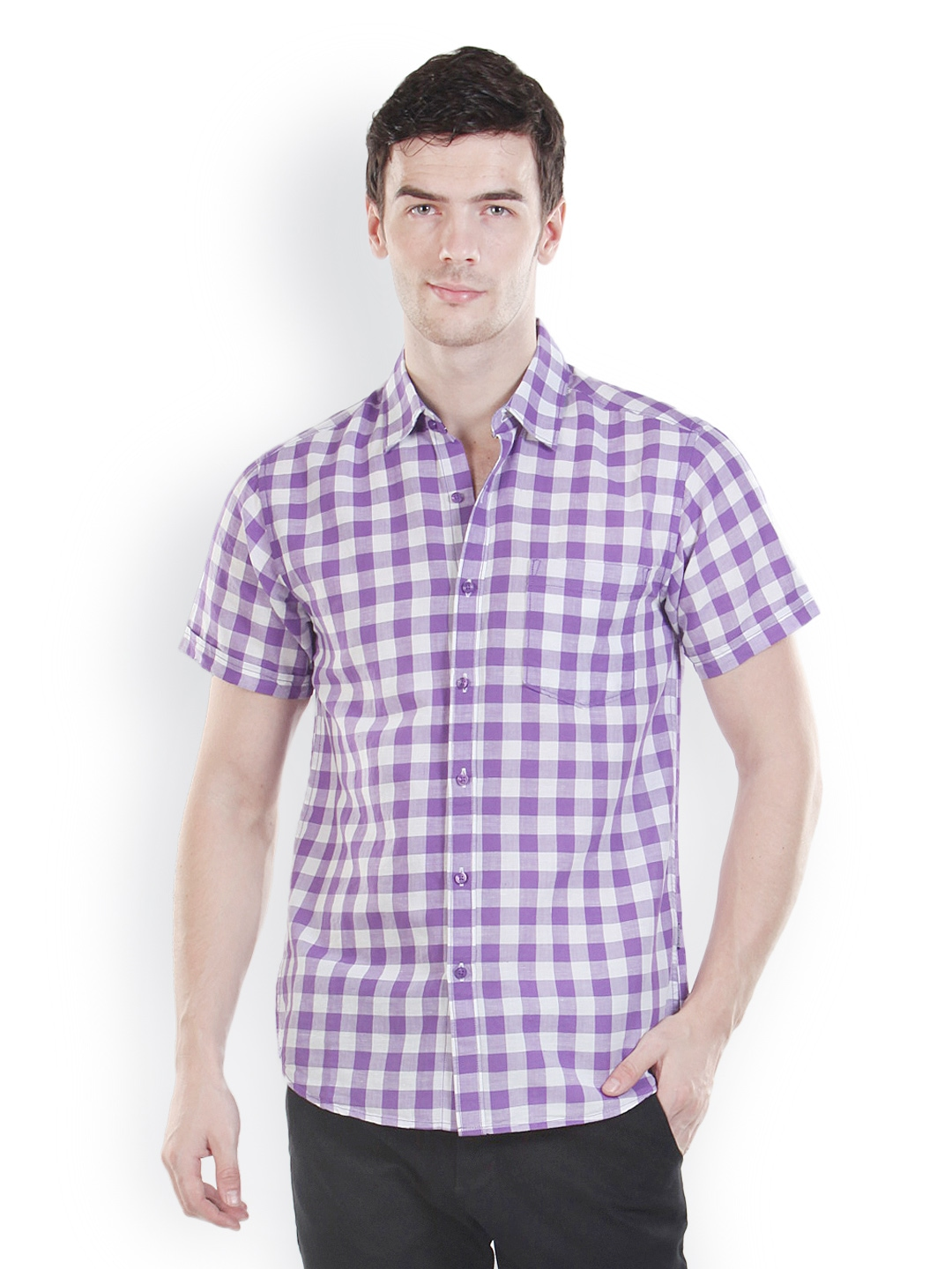 Myntra platinum league men purple white checked casual for Purple and white checked shirt