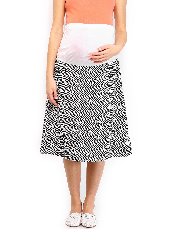myntra preggear black white printed midi maternity skirt