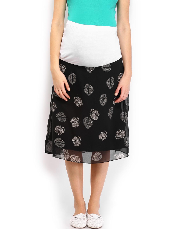 myntra preggear black printed maternity midi skirt 635323