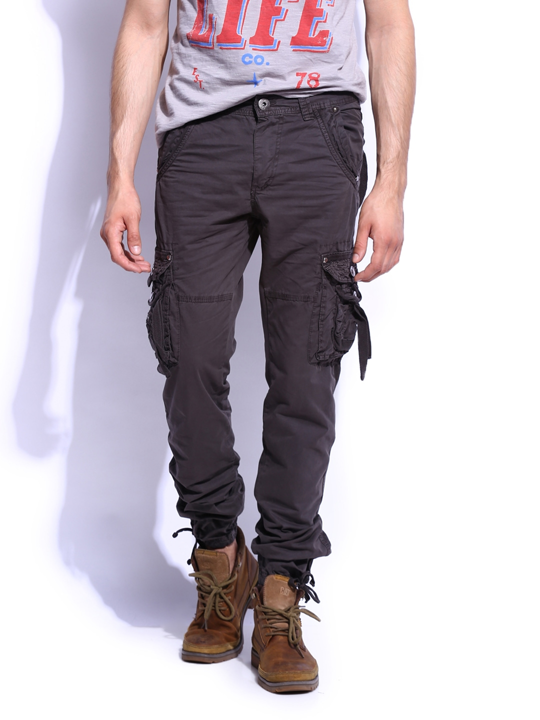Buy RDSTR Men Charcoal Grey Slim Fit Cargo Trousers - Trousers for ...