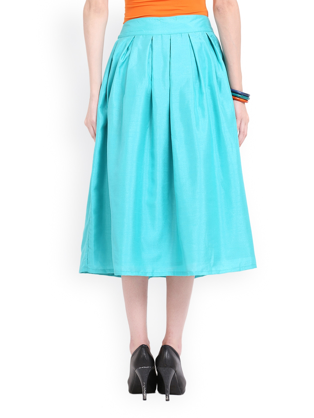myntra ridress for tfc turquoise blue midi skirt 584650