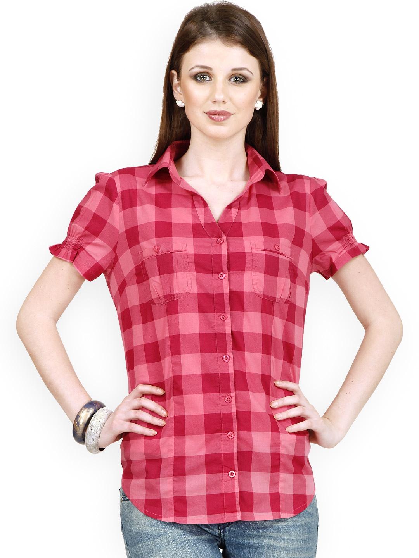 Myntra raaziba women pink checked shirt 774577 buy for Shirts online shopping lowest price