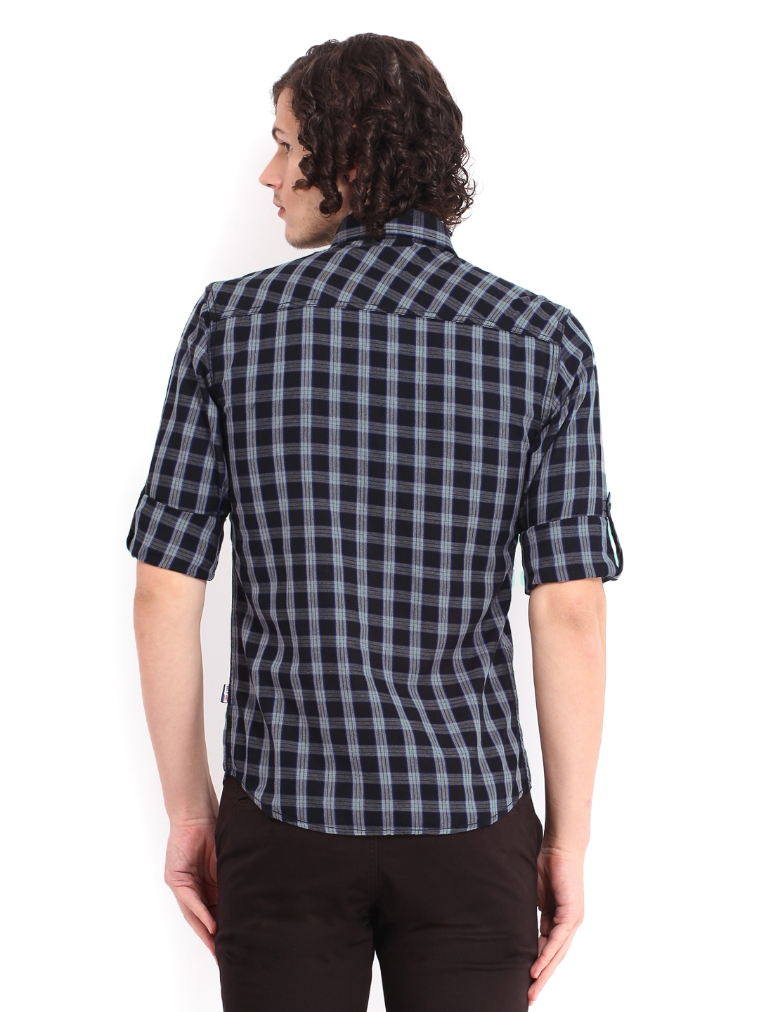 Myntra Red Flame Men Black Grey Checked Casual Fit Shirt