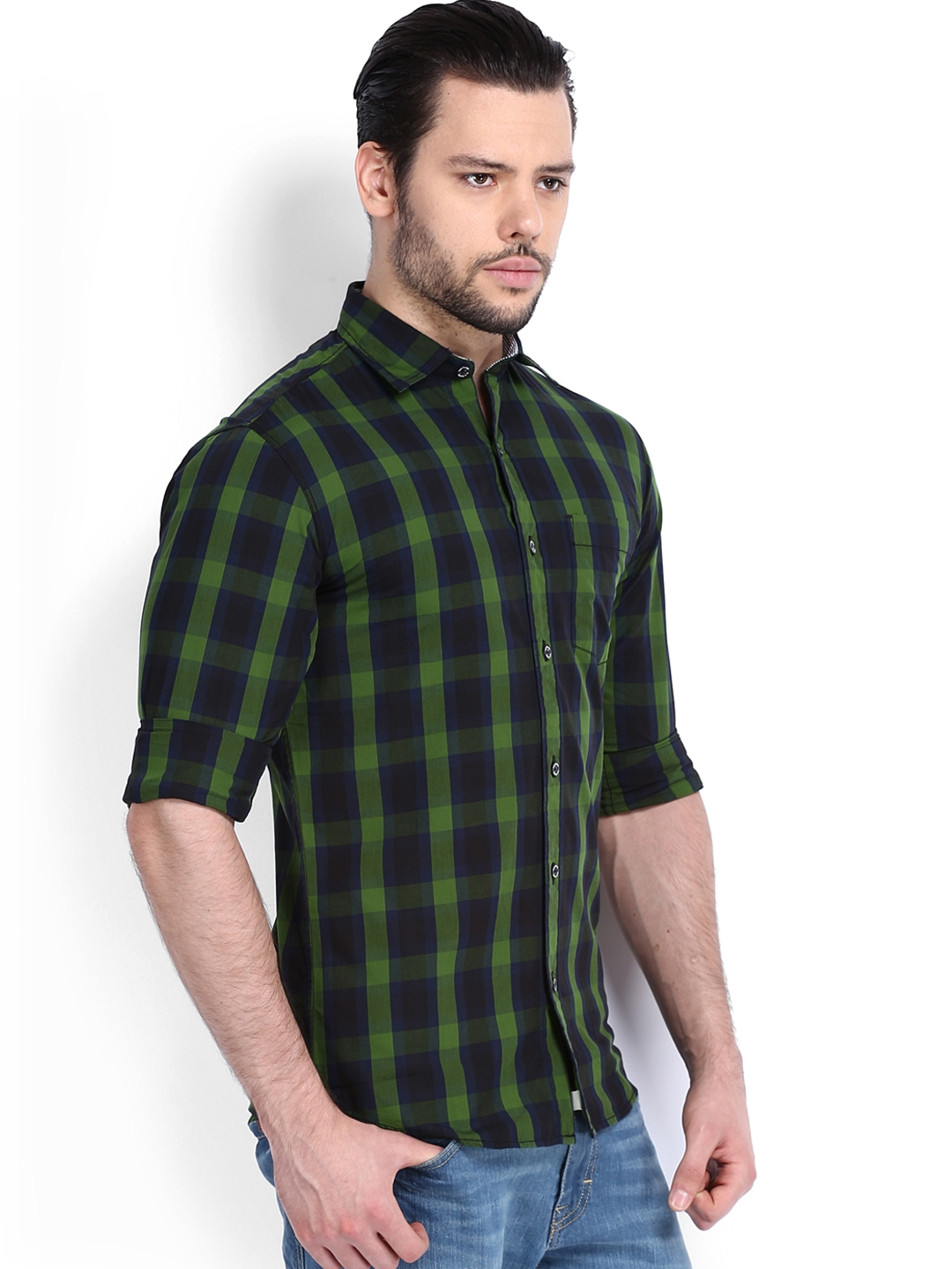 Myntra red flame men green black checked casual fit for Red and green checked shirt