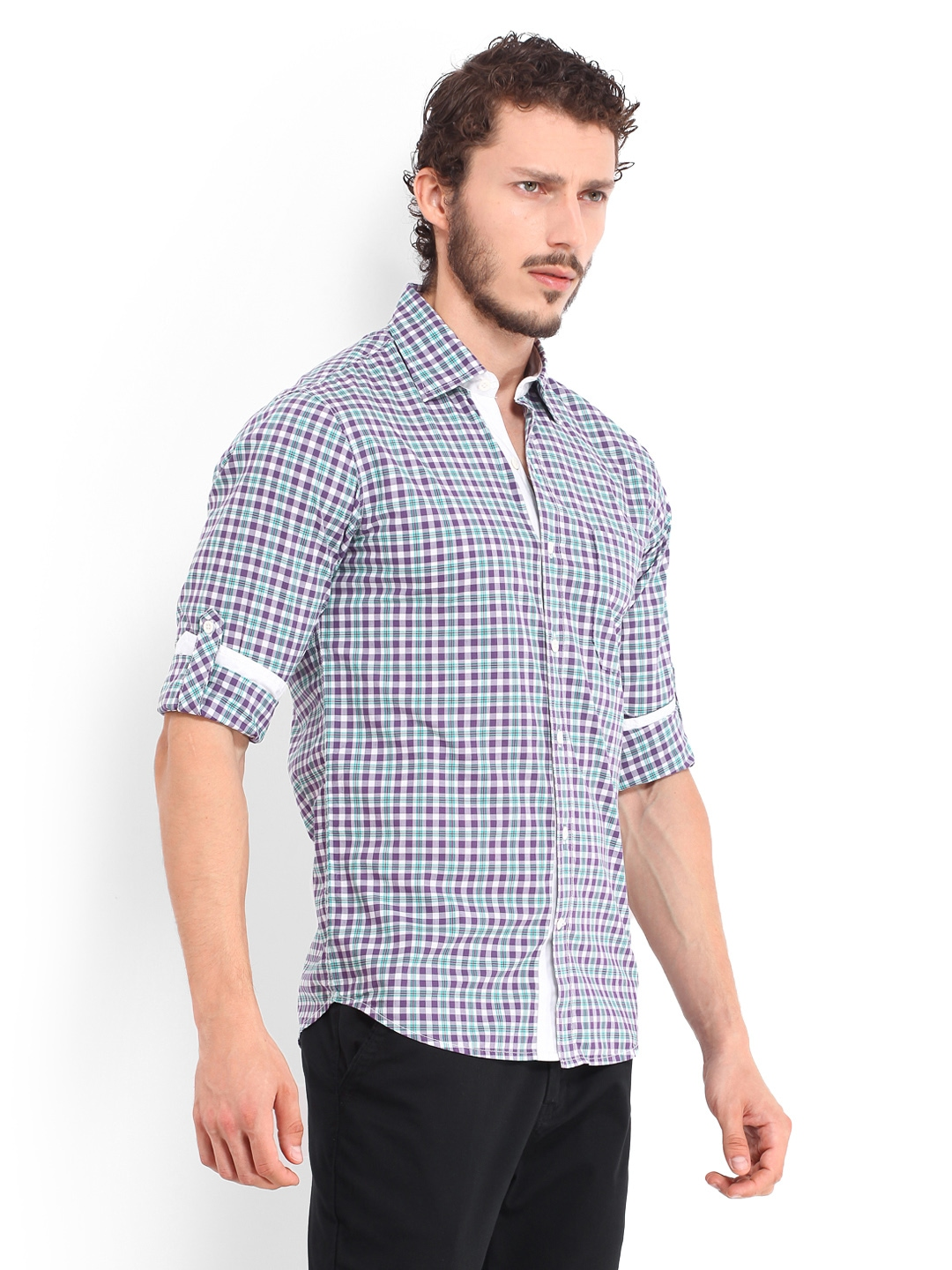 Myntra Red Flame Men Purple White Checked Casual Fit