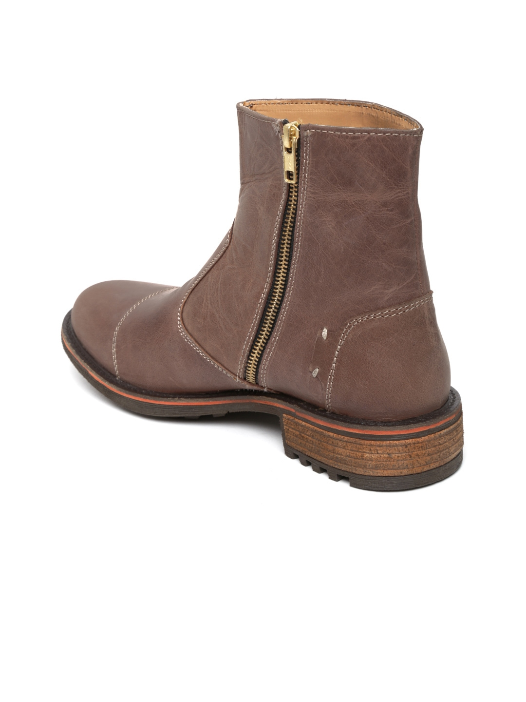 myntra roadster brown leather boots 571598 buy