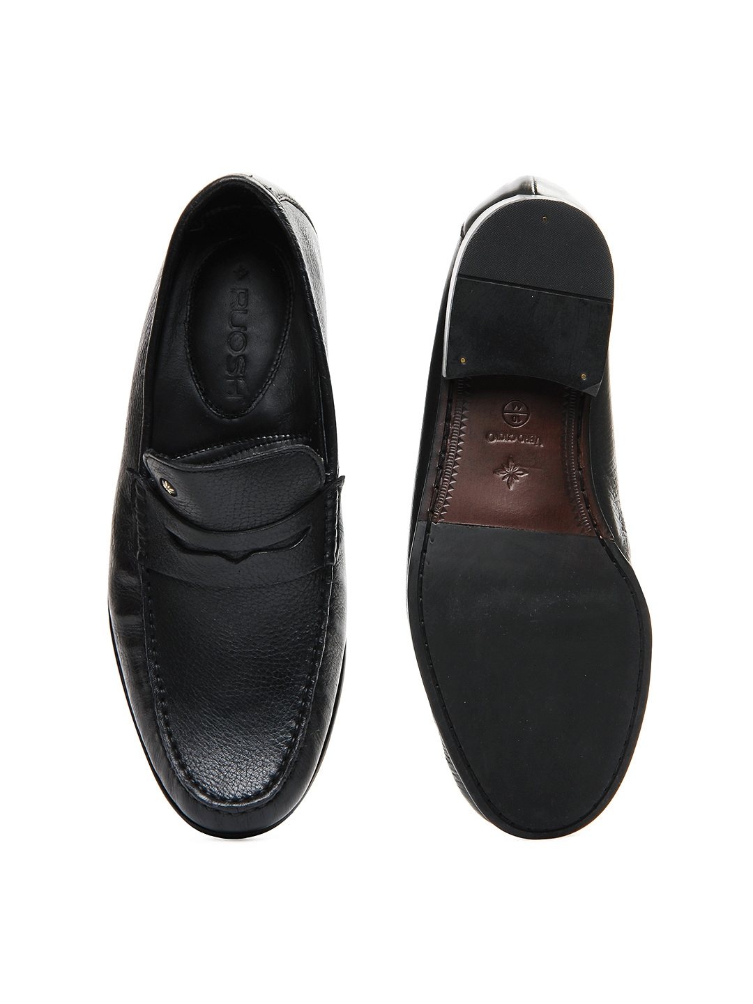 myntra ruosh black leather semi formal shoes 154318