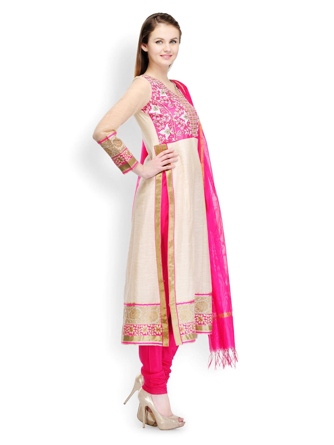 myntra sia fashion women off white pink embroidered chanderi silk churidar kurta with dupatta. Black Bedroom Furniture Sets. Home Design Ideas