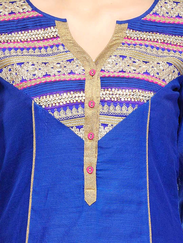 Myntra sia fashion blue pink embroidered chanderi silk