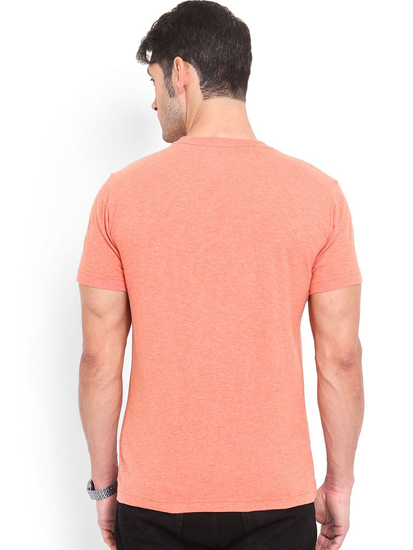 Myntra Smokestack Men Coral Orange Printed Custom Fit T
