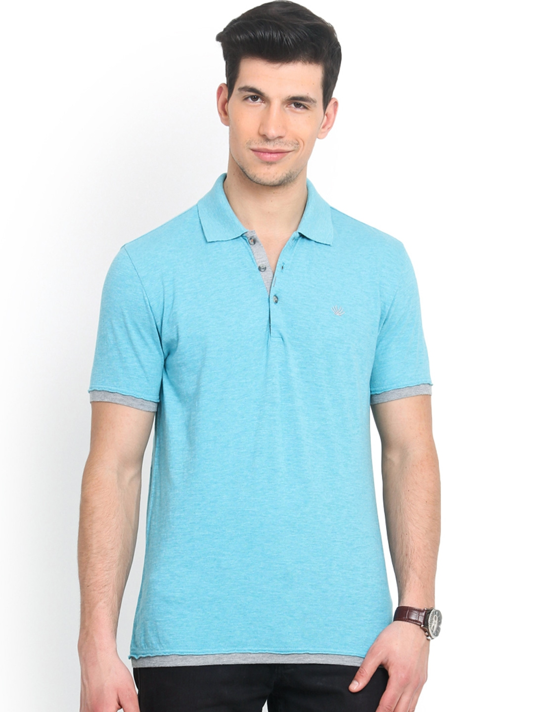Myntra smokestack men turquoise blue custom fit polo t for Custom fit t shirts