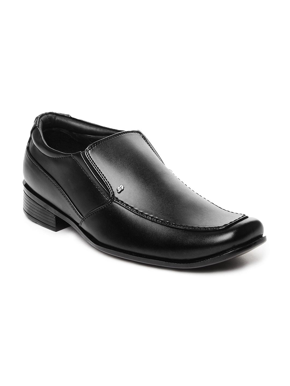 myntra san frissco black leather semi formal shoes