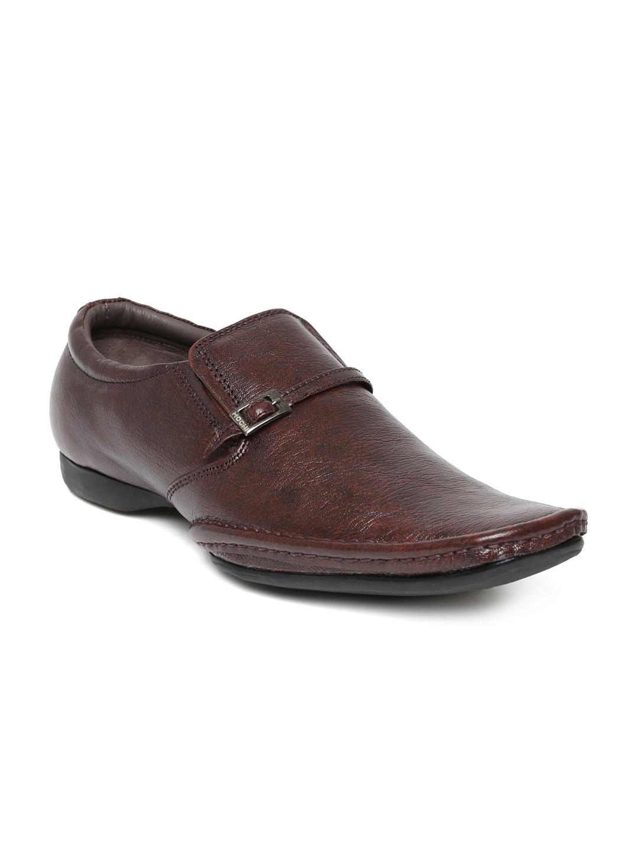 myntra san frissco brown semi formal leather shoes