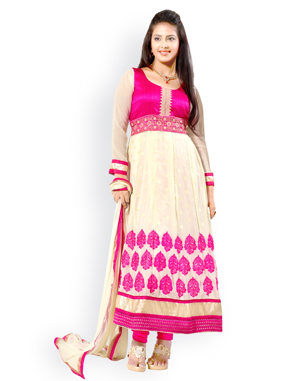 Myntra silk bazar off white pink embroidered anarkali