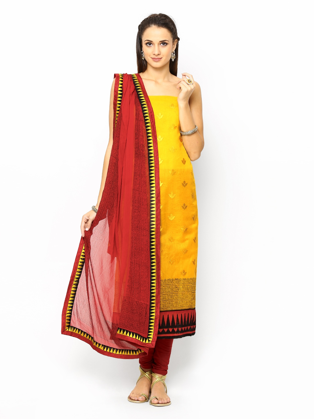 Myntra span yellow red embroidered unstitched dress