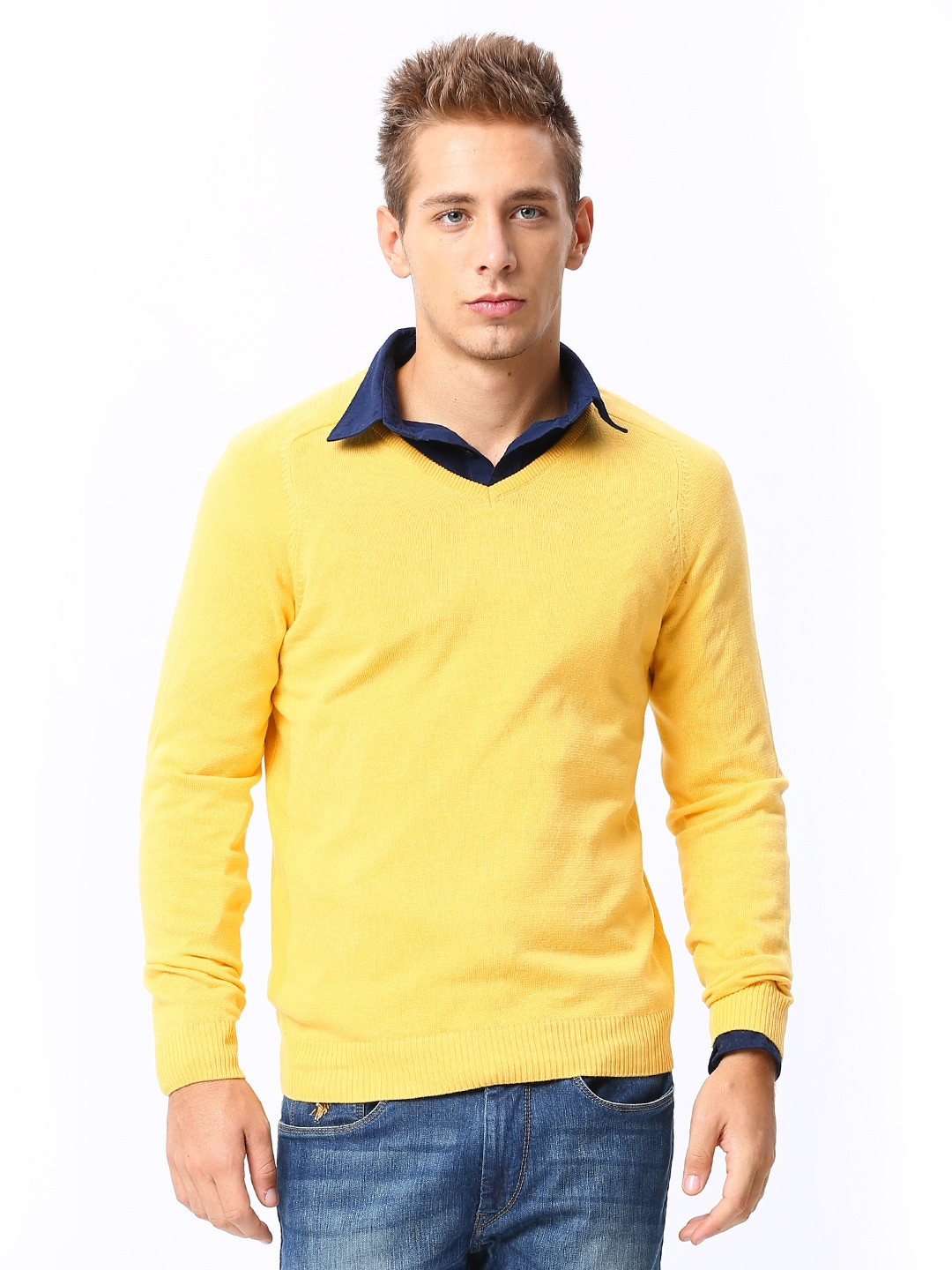 Show your style smarts in this honey yellow turtleneck! With a close fit, long sleeves, and a fine, soft knit with ribbed edges, this versatile sweater .