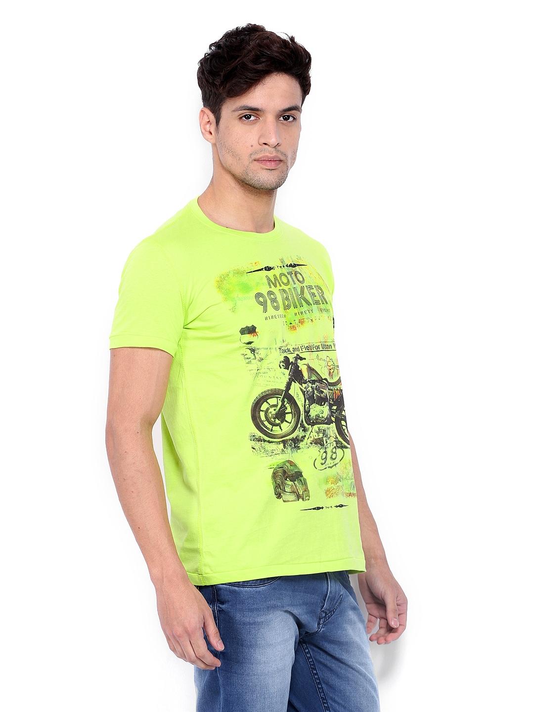 Myntra Status Quo Men Neon Green Printed T Shirt 382191