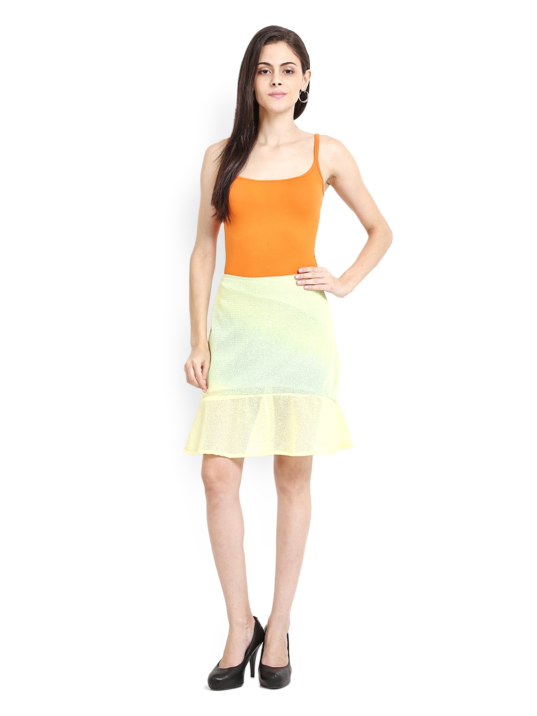 myntra sweet lemon for tfc yellow a line skirt 543937