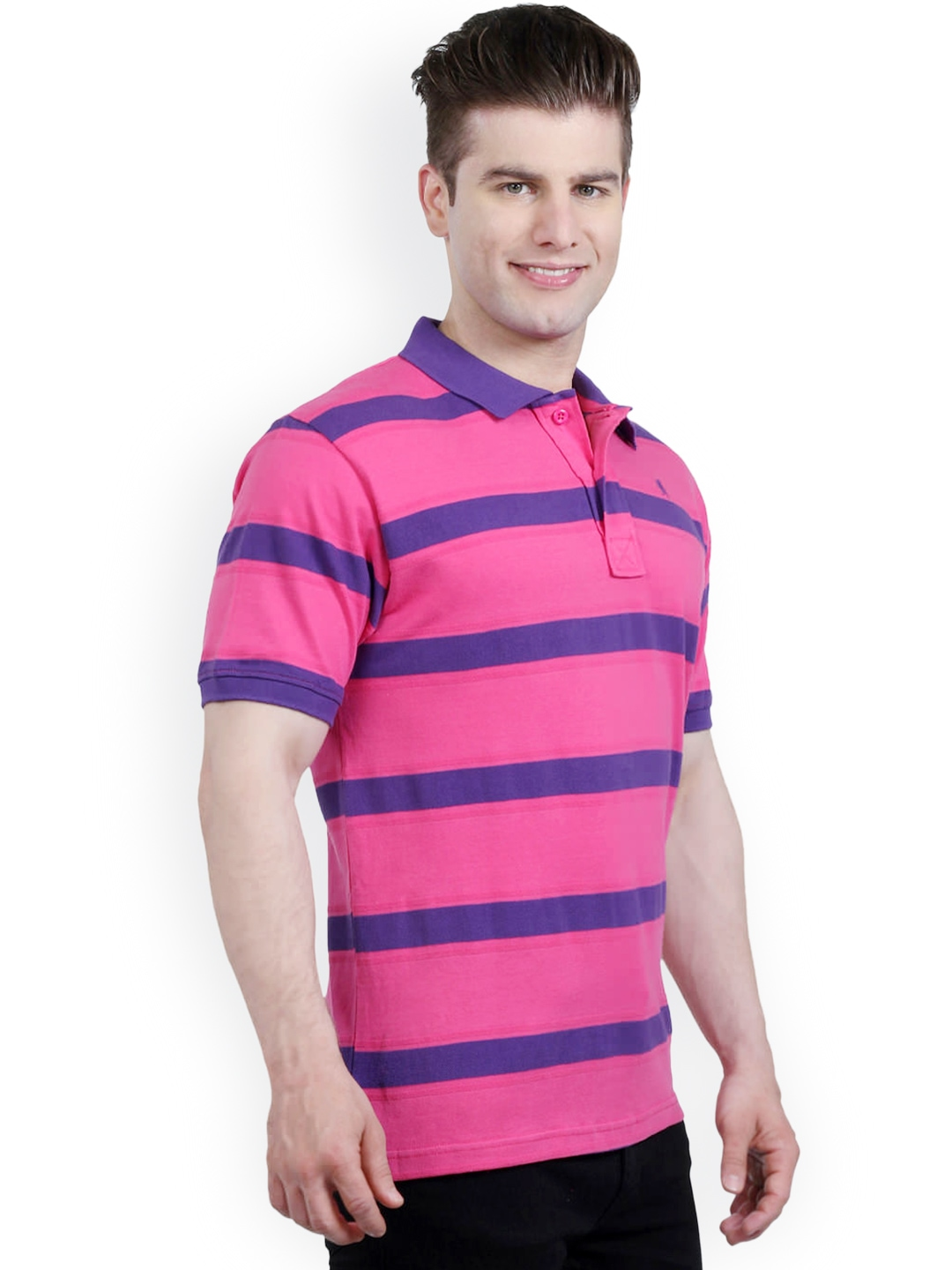 Myntra the cotton company men pink purple striped for Purple and black striped t shirt