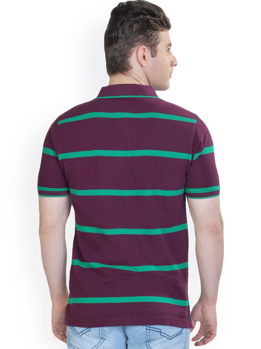 Myntra the cotton company men purple green striped for Purple and black striped t shirt