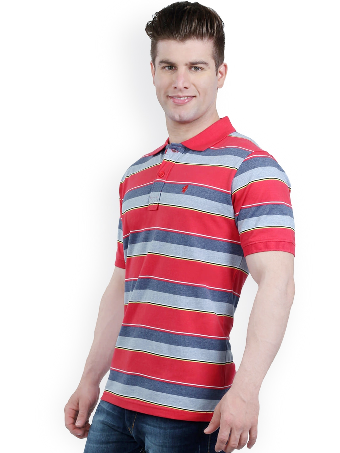 Myntra the cotton company men red blue striped comfort for Red blue striped shirt