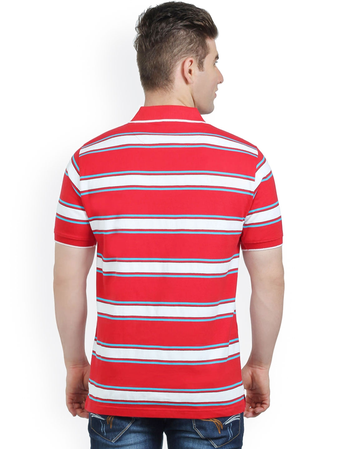 Myntra the cotton company men red white striped comfort for Red white striped polo shirt