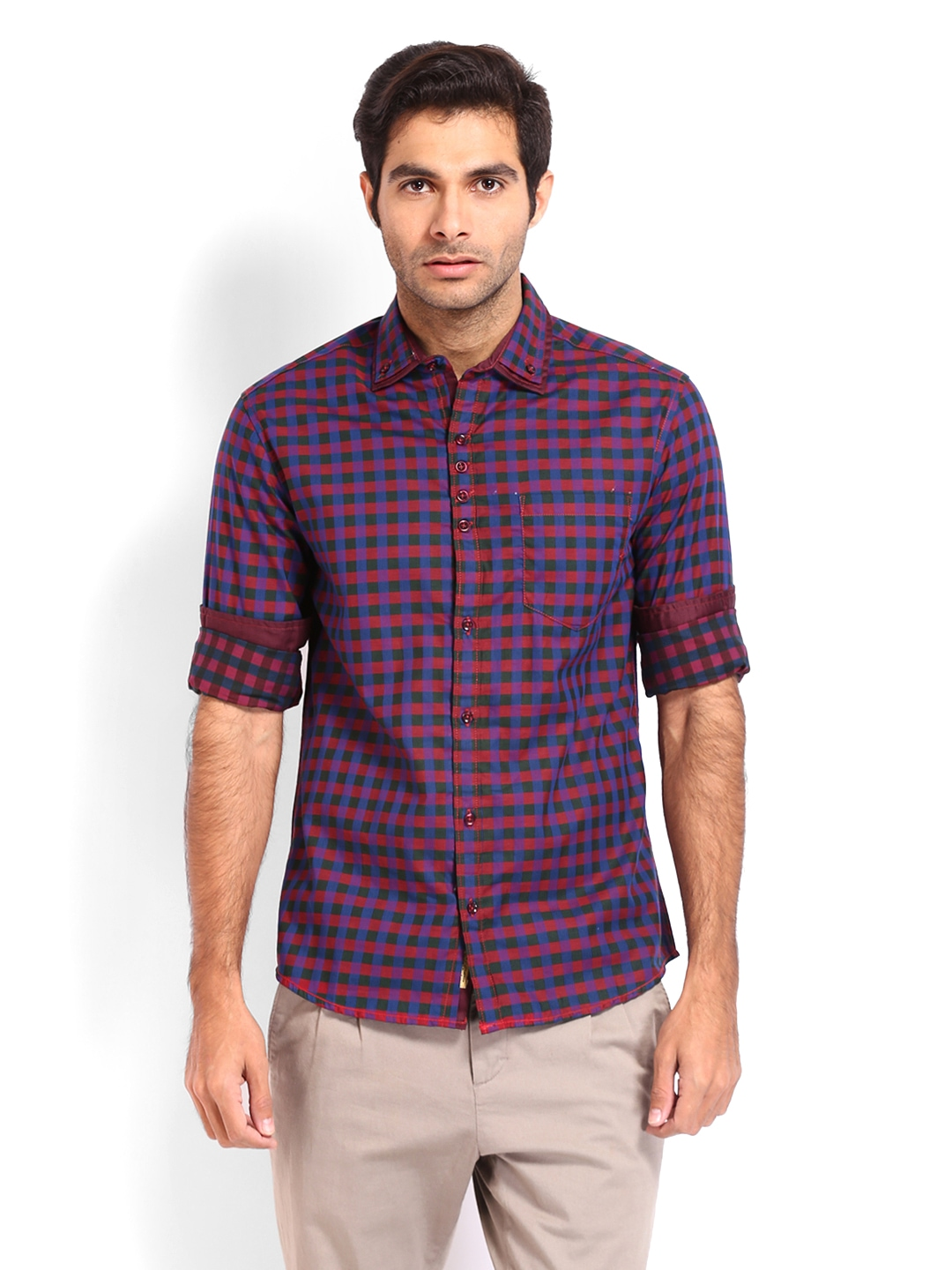 Myntra the indian garage co men red green checked slim for Red and green checked shirt