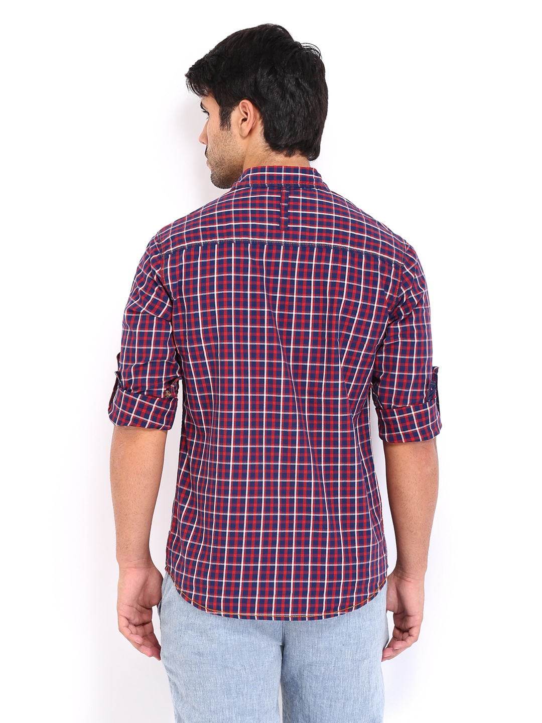 Myntra the indian garage co men red navy slim fit for Navy slim fit shirt