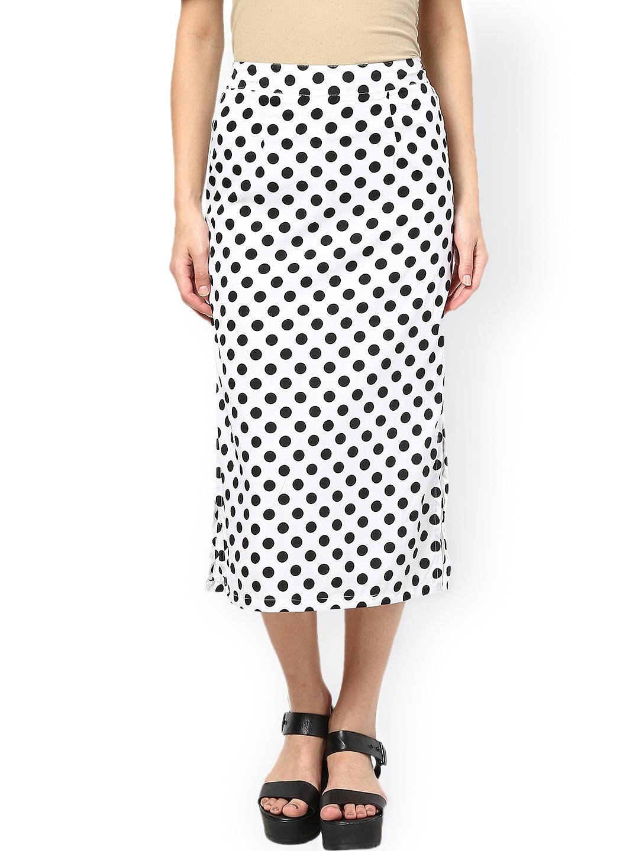 myntra the vanca white black polka dot print midi skirt