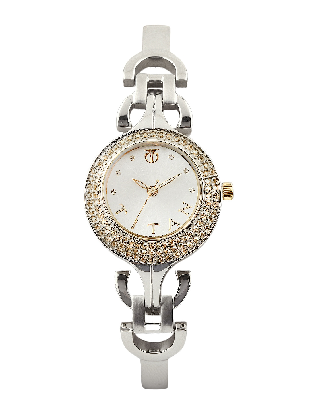 myntra titan women silver toned dial watch 229156 buy