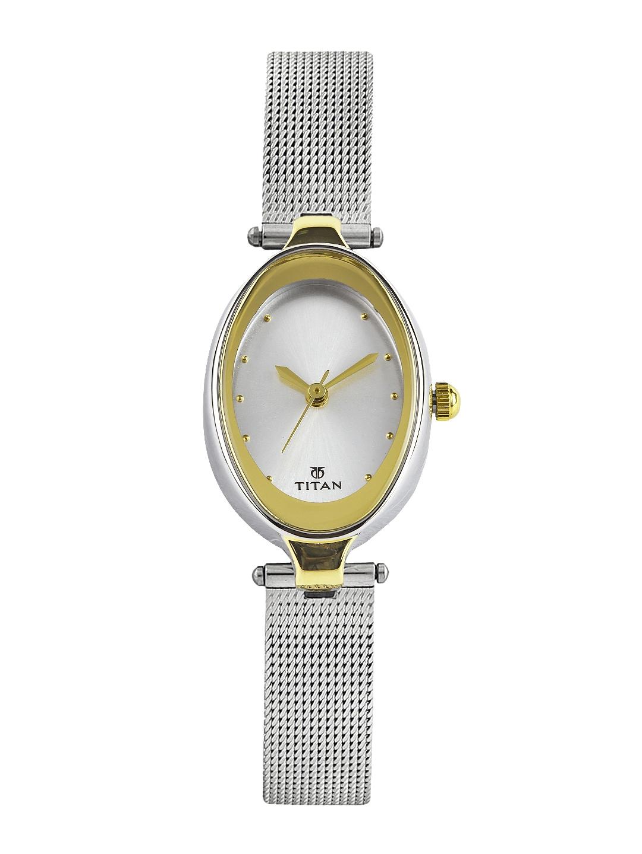 myntra titan raga women silvertoned dial watch ne2471bm01