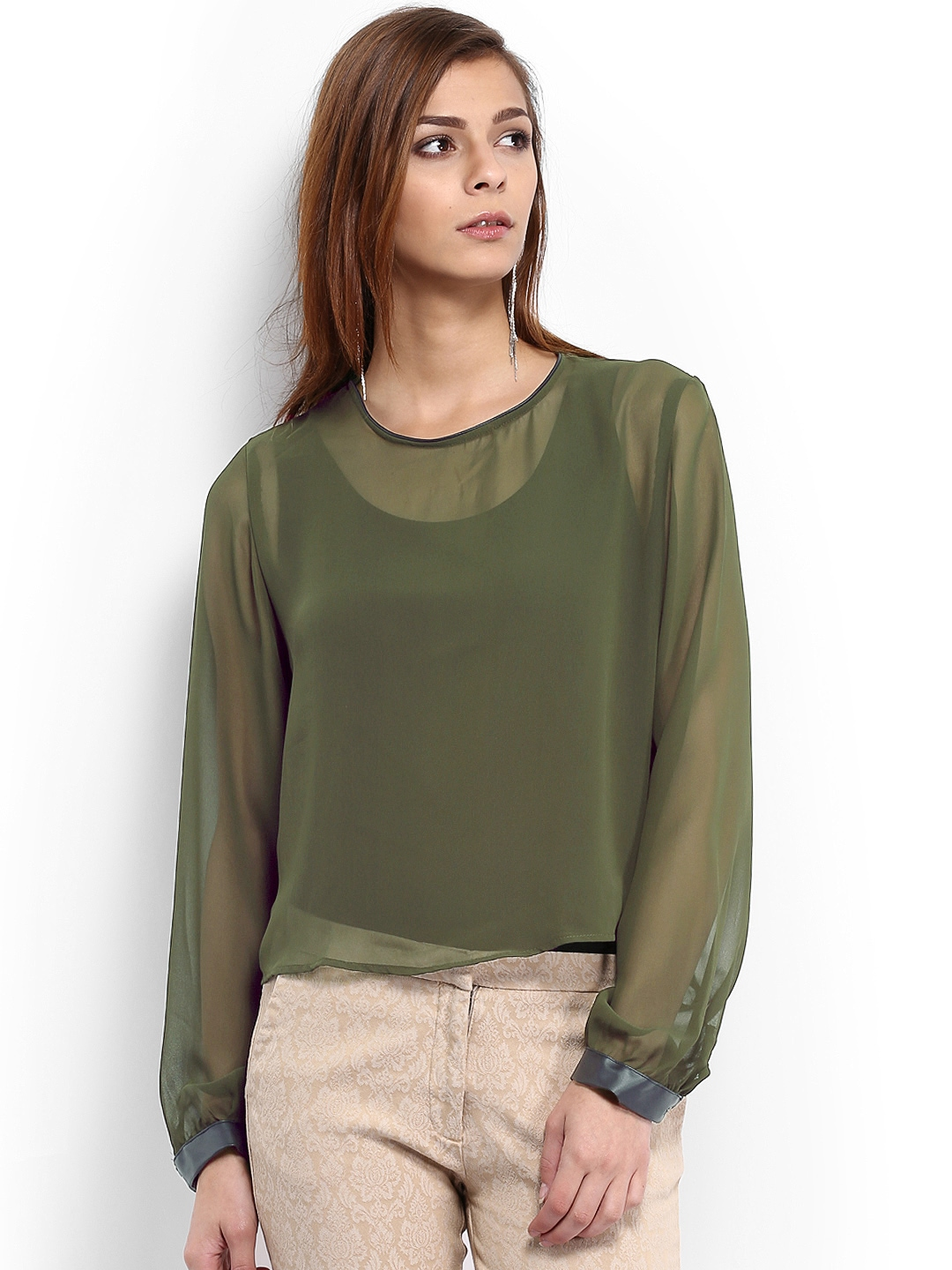 Myntra Tokyo Talkies Women Olive Green Sheer Crop Top