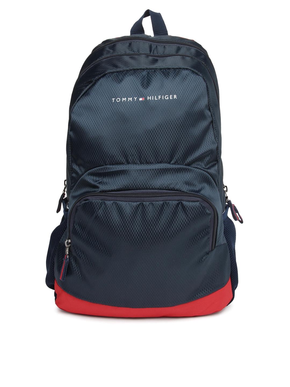 myntra tommy hilfiger unisex navy backpack 637881 buy. Black Bedroom Furniture Sets. Home Design Ideas