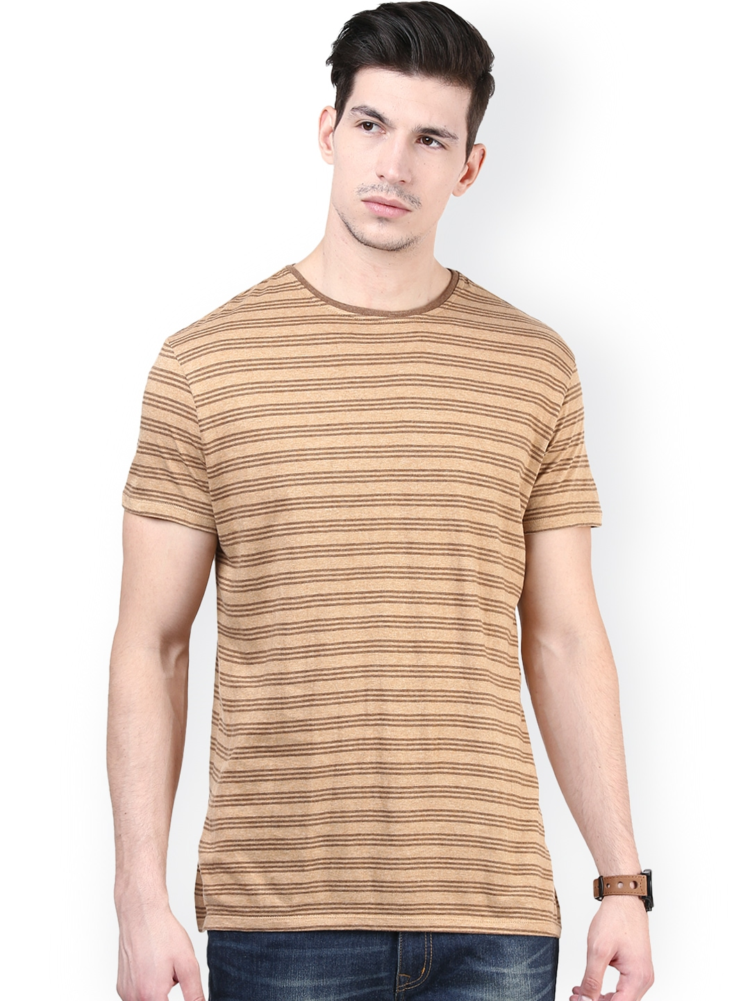 Myntra tshirtcompany brown beige striped comfort fit t for Best striped t shirt