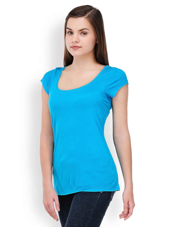 Myntra tshirtcompany women blue t shirt 347047 buy for Shirts online shopping lowest price