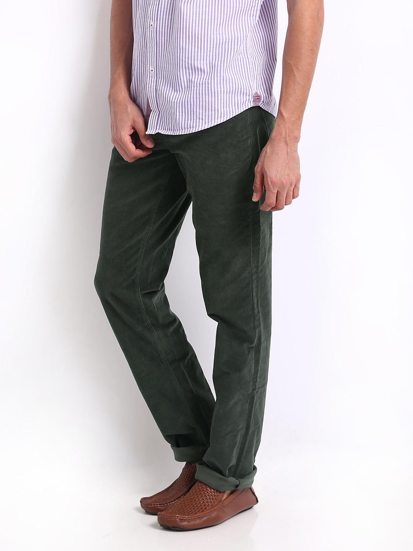 Buy Turtle Men Bottle Green Modern Slim Fit Corduroy Trousers ...